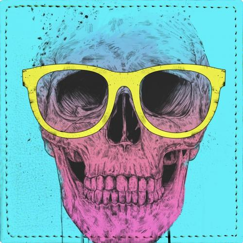Posavasos Pop art skull with glasses - Galeria Impresionarte