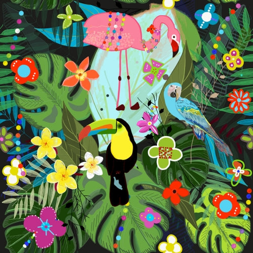 Canvas Tropical flowers and birds. Vibrant colored botani