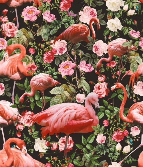 Canvas Floral and Flamingo Pattern