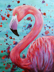Canvas Blueberry Flamingo
