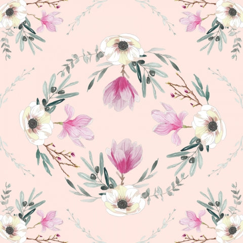 Canvas Floral square pink