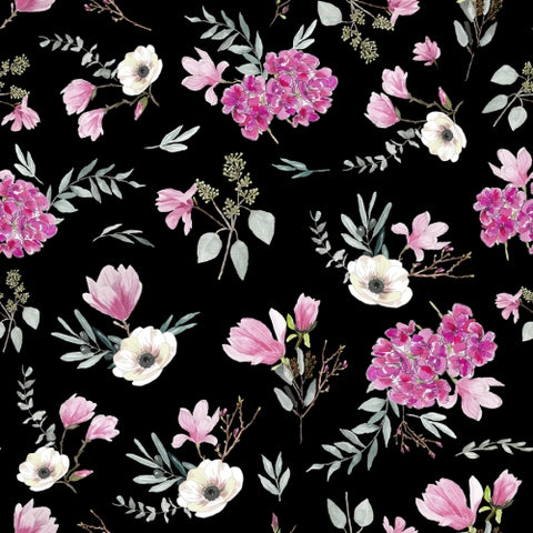 Canvas Floral pattern black