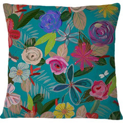 Cojin Vivid Colorful Botanical Flowers Pattern