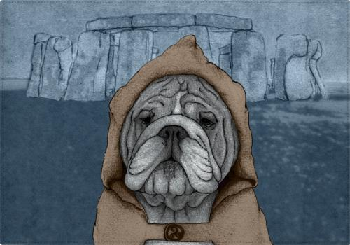 Individuales English Bulldog With Stonehenge