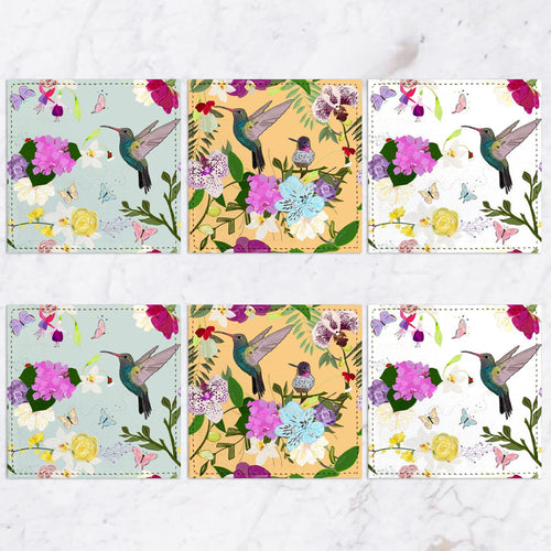 Posavasos HUMMINGBIRD AND FLOWERS Collection