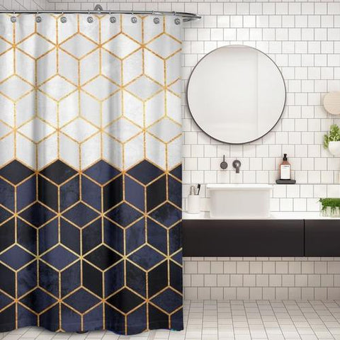 Cortina de Baño White and Navy Cubes
