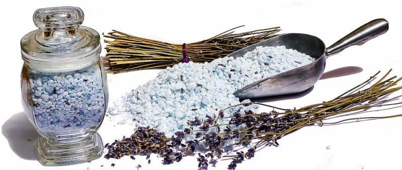 Epsom salts in bath salts form with lavender