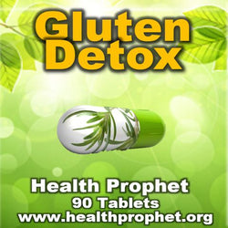 Gluten Detox capsule on green background health prophet