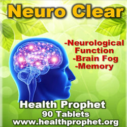 Neuro clear for brain fog with human brain showing pink lights