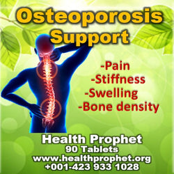 Osteoporosis support man with red spine on dark blue background