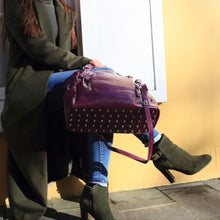 Leather Handbag, Leather Purse, Leather Bag, leather purses, purple leather bag, handbag, rolled leather handles, shoulder strap, crossbody bag, zippered pockets, studded base