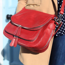Vintage Red Leather Handbag, Red Leather Shoulder Bag, Red Leather Crossbody Bag, Red Leather Messenger Bag