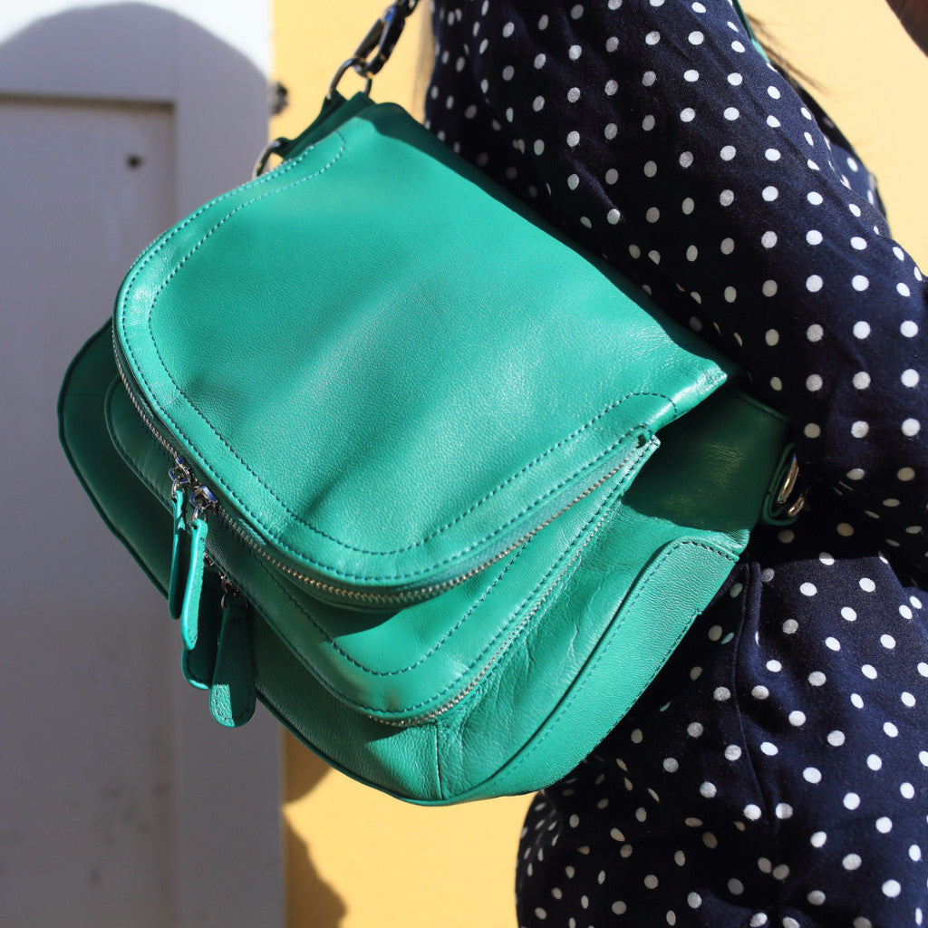 Green Leather Handbag, Green Leather Shoulder Bag, Green Leather Messenger Bag, Green Leather Crossbody Bag