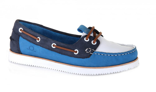 Josie Lace Up Boat Shoes White/Cobalt/Navy