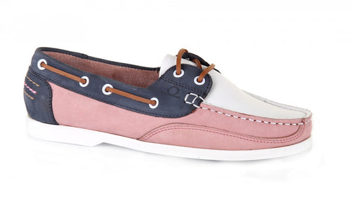 Julie Boat Shoe Brown White/Pink/Navy