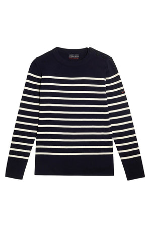 Armor-Lux Women Striped Sweater - Rich Navy/Milk