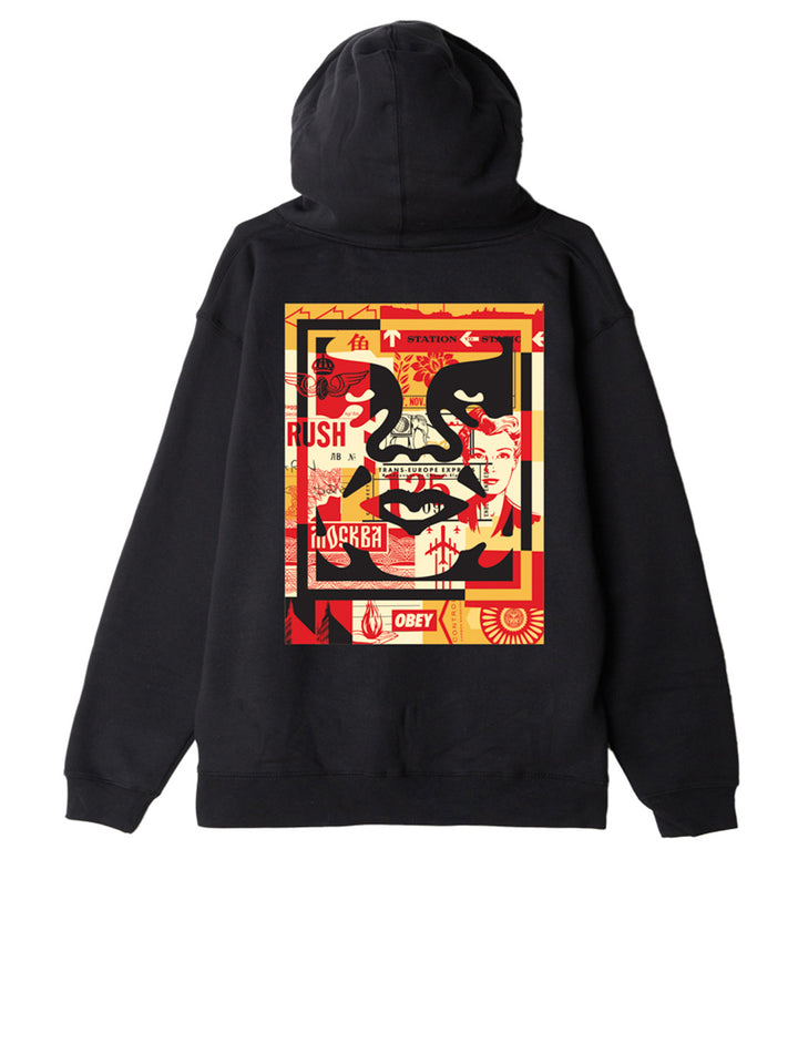 Obey 3 Face Collage Hooded Sweashirt - Black