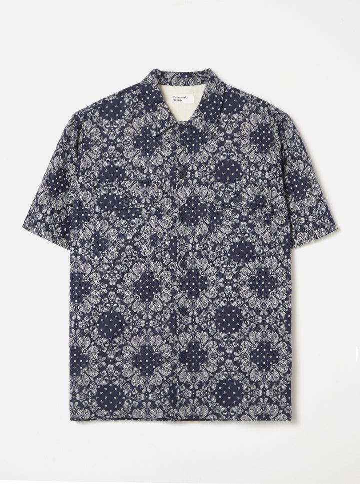 Universal Works Utility Short Sleeve Shirt - Navy