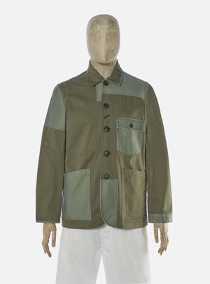 Universal Works Patched Mill Bakers Jacket - Light Olive/Olive