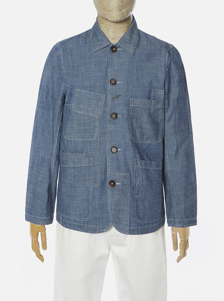 Universal Works Patched Bakers Jacket - Indigo Chambray