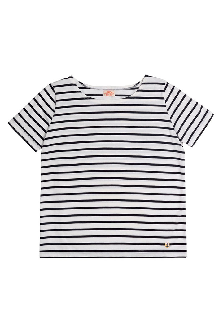 Armor-Lux Women S/S Sailor Shirt - White/Dark Navy