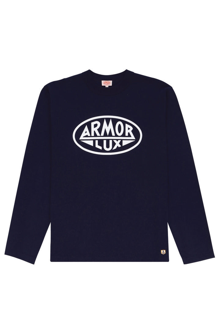 Armor-Lux Long Sleeve Logo T-Shirt - Navy
