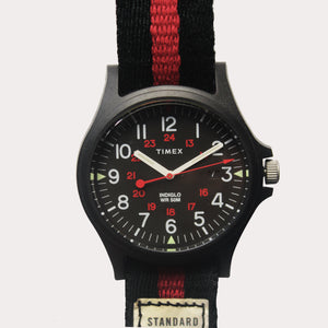 Timex Acadia Watch - Black Case, Black Dial, Stripe Strap