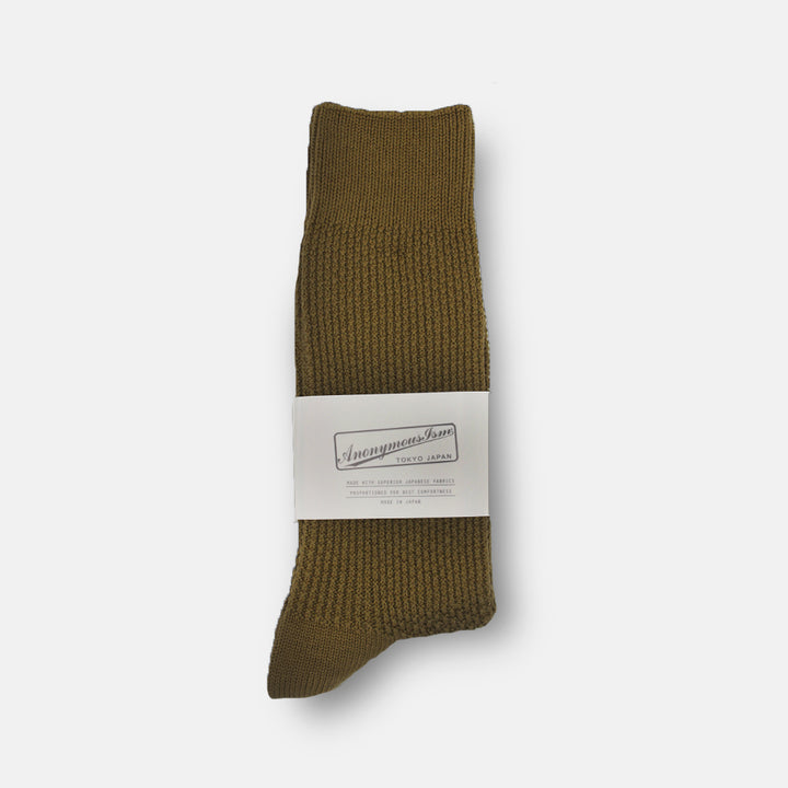 Anonymous-Ism Pique Rib Crew Sock - Olive