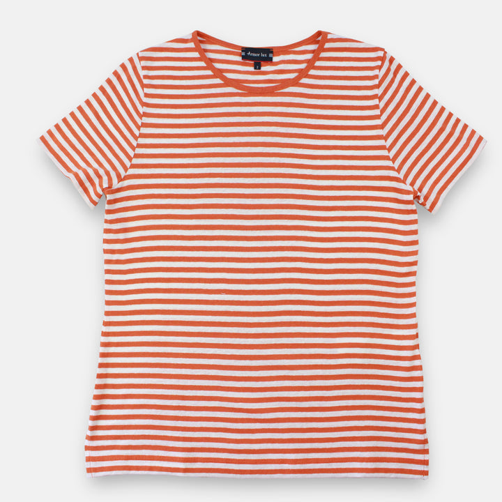 Armor-Lux Women Stripe T-Shirt - White/Tangerine