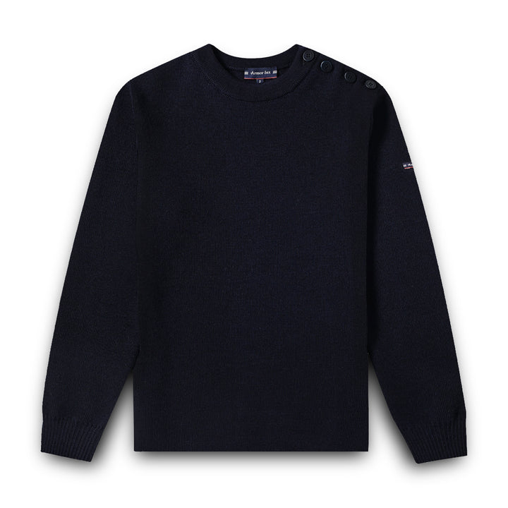 Armor-Lux Goulenez Merino Wool Fisherman Sweater - Navy