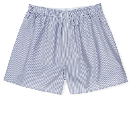 Sunspel Classic Cotton Poplin Boxer Short - Blue/White Stripe