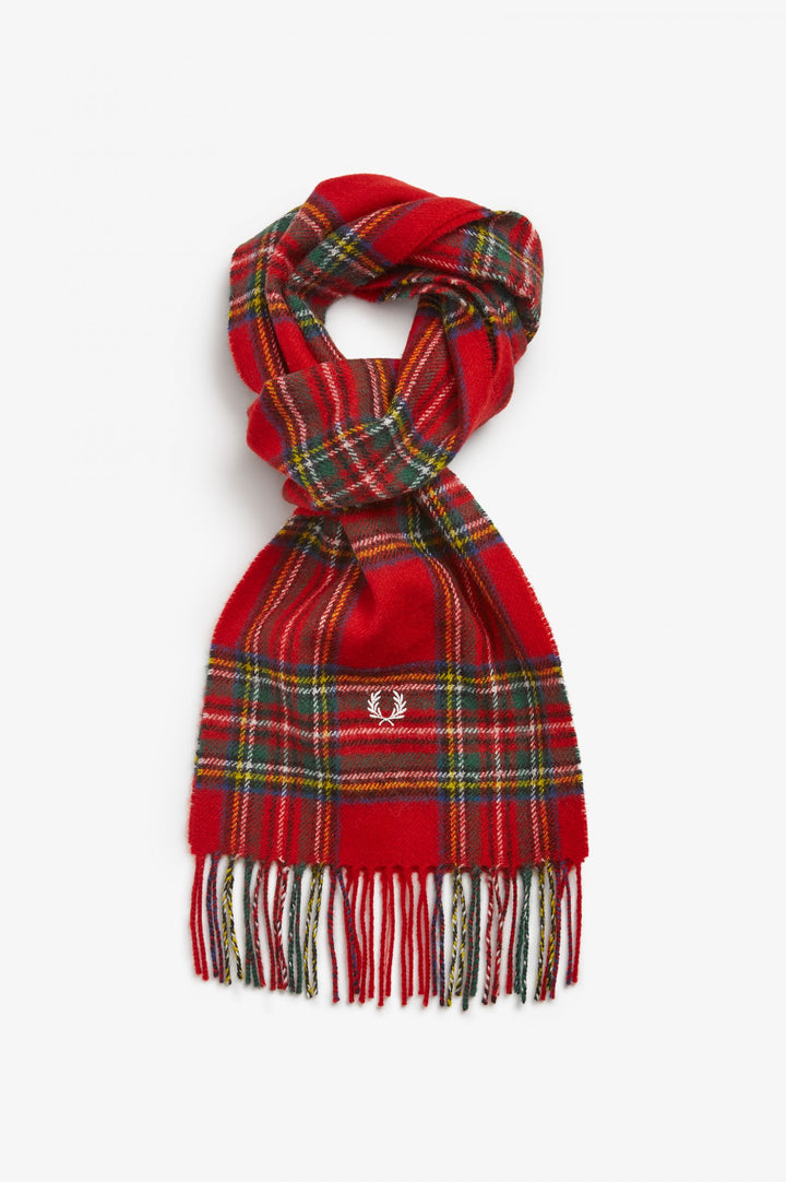 Fred Perry Royal Stewart Tartan Scarf - Red