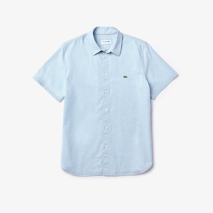 Lacoste Short Sleeve Chambray Shirt - Medium Blue
