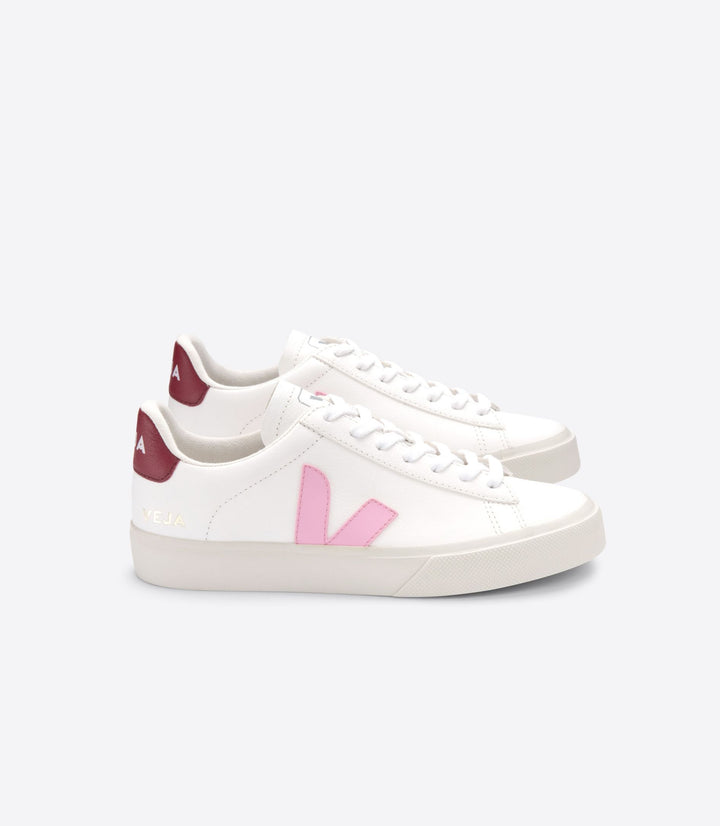 Veja Women Campo Trainers - White/Grimauve/Marsala Chromefree Leather