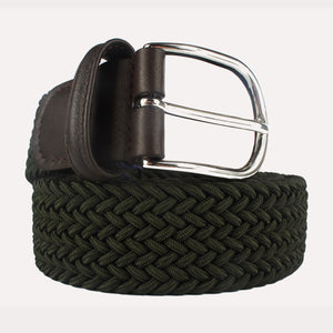 Andersons Woven Textile Belt - Moss with Brown Leather
