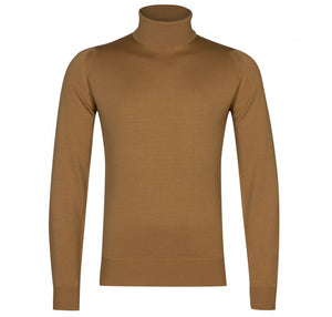 John Smedley Connell Roll Neck Pullover - Camel