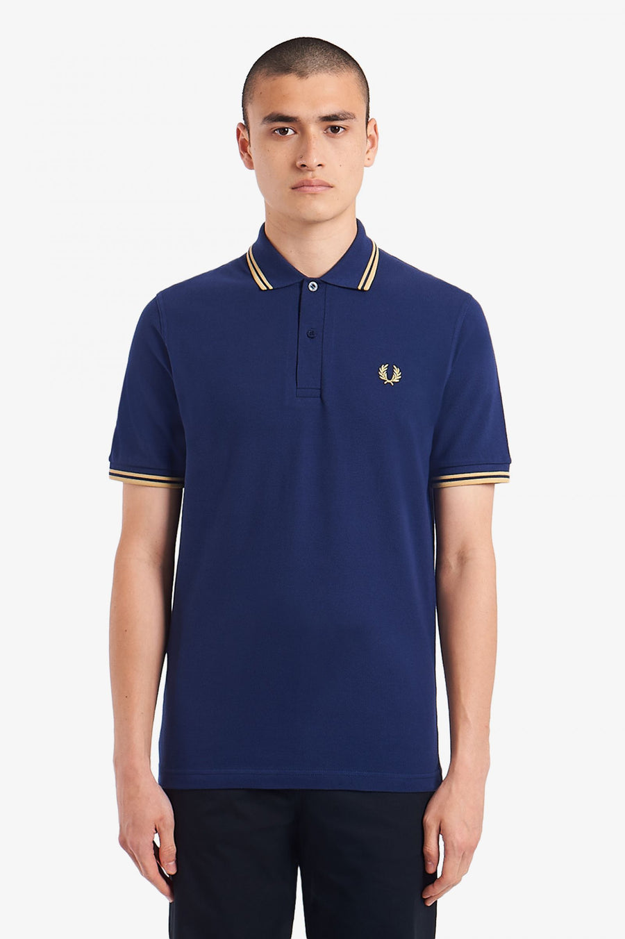 Fred Perry Twin Tipped M12 Polo Shirt - French Navy/Champagne