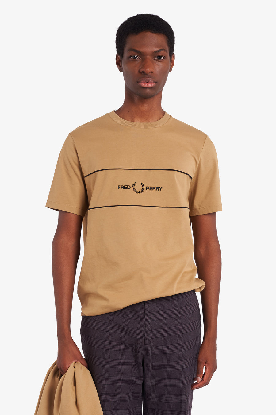 Fred Perry Embroidered Panel T-Shirt - Warm Stone