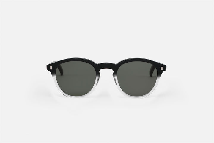 Monokel Eyewear Nelson Black/Crystal ECO Sunglasses - Solid Green Lens