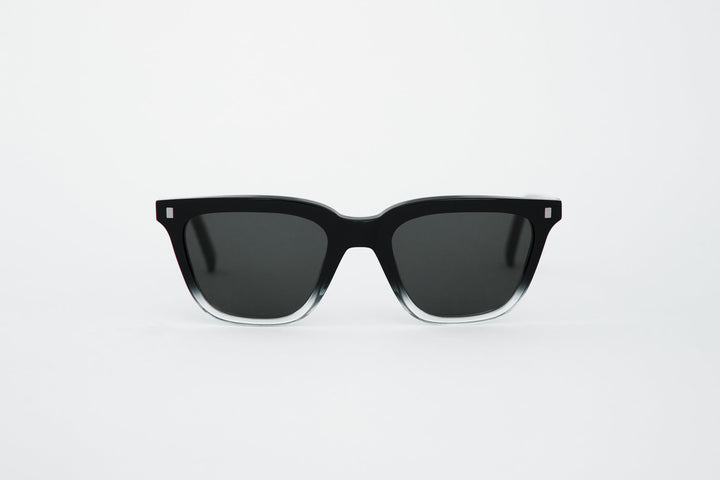 Monokel Eyewear Robotnik Black/Crystal ECO Sunglasses - Solid Green Lenses