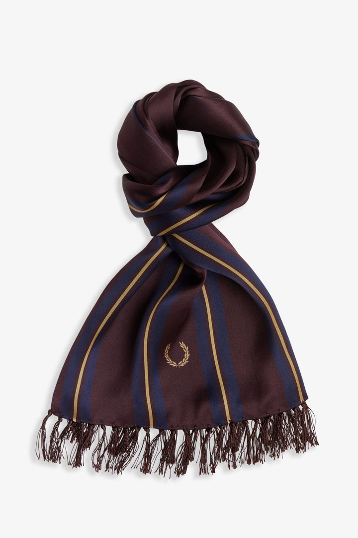 Fred Perry Striped Silk Scarf - Mahogany/Navy.Gold