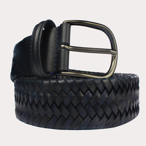 Andersons Woven Leather Belt - Navy