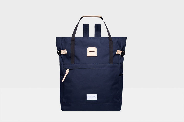 Sandqvist Roger Bag - Navy with Natural Leather
