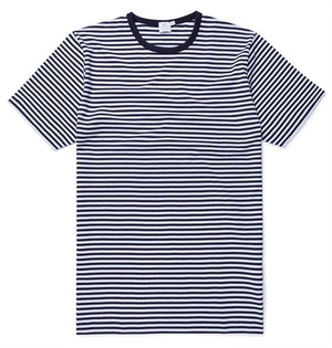 Sunspel Q8 Short Sleeve Crew Neck English Stripe T-Shirt White/Navy