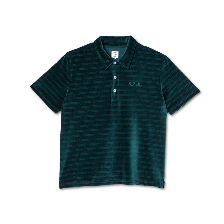 Polar Skate Co. Stripe Velour Polo Shirt - Dark Green