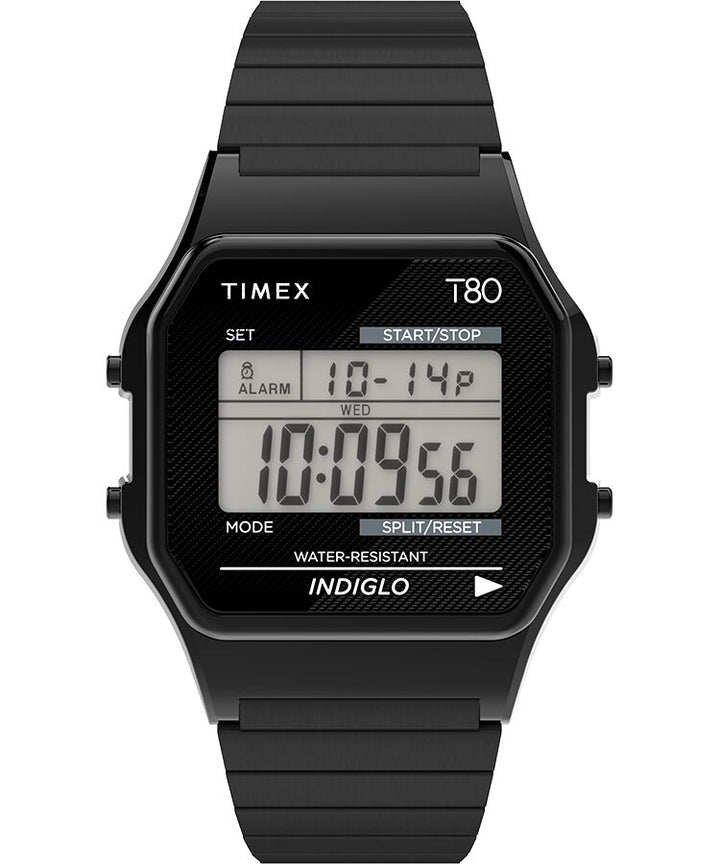 Timex T80 34MM Stainless Steel Expansion Band Watch - Black
