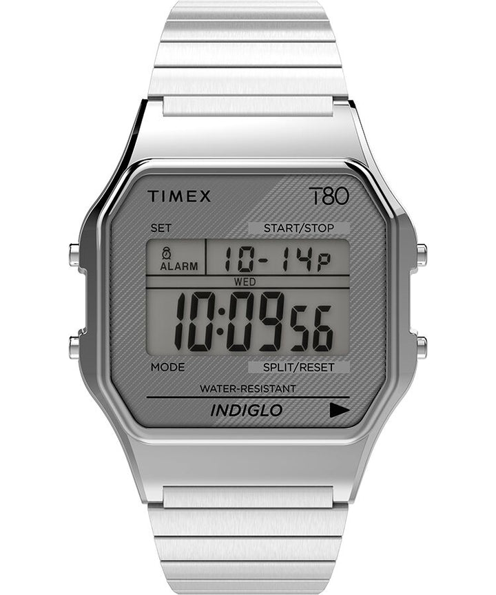 Timex T80 34MM Stainless Steel Expansion Band Watch - Silvertone