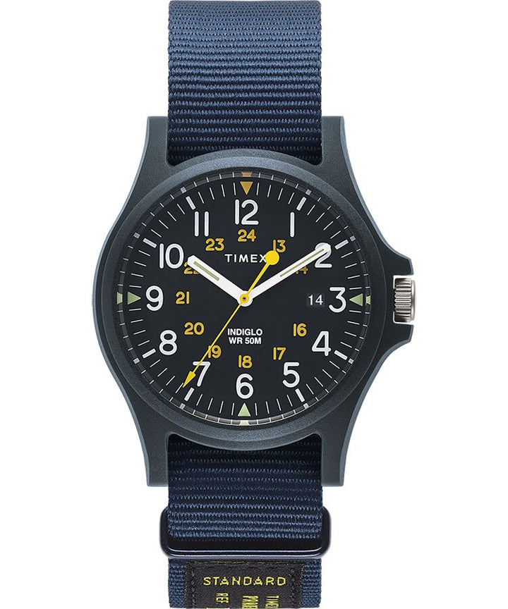 Timex Acadia Watch - Blue Case, Blue Dial, Military Strap