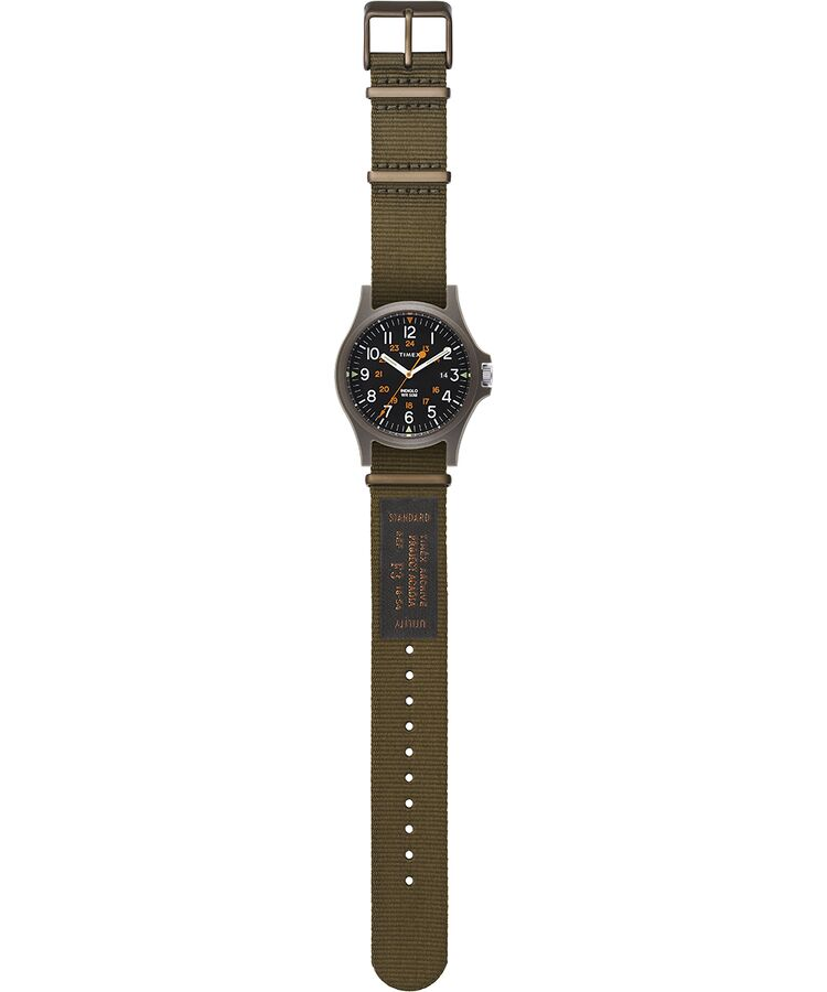 Timex Acadia Watch - Green Case, Green Dial, Military Strap