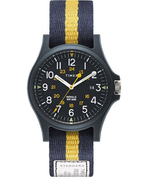 Timex Acadia Watch - Blue Case, Blue Dial, Stripe Strap